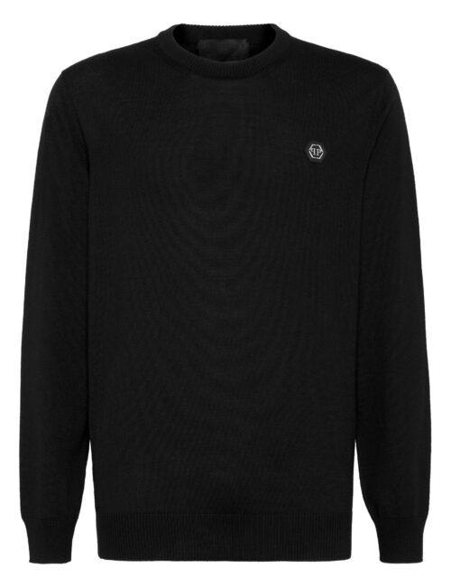 Philipp Plein Wool Pullover Round-Neck Istitutional Zwart