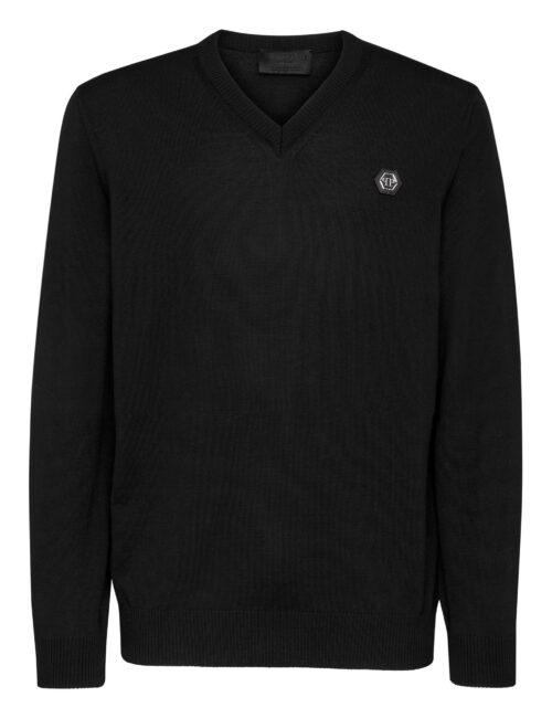 Philipp Plein Wool Pullover V-Neck Istitutional Zwart