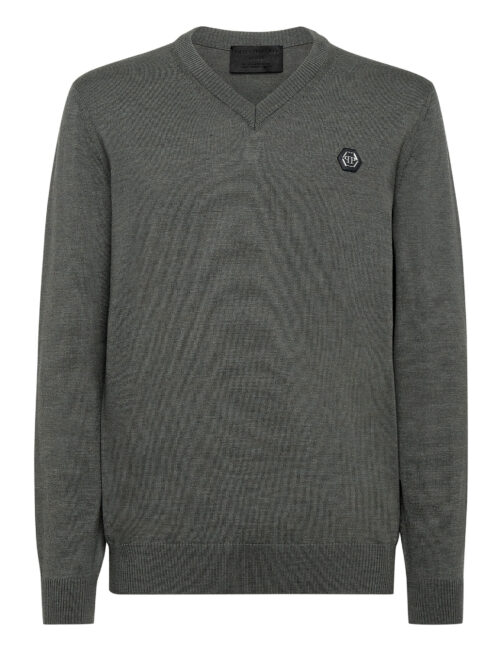 Philipp Plein Wool Pullover V-Neck Istitutional Military