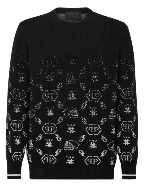 Philipp Plein Wool Pullover Jacquard Degradè Monogram Zwart