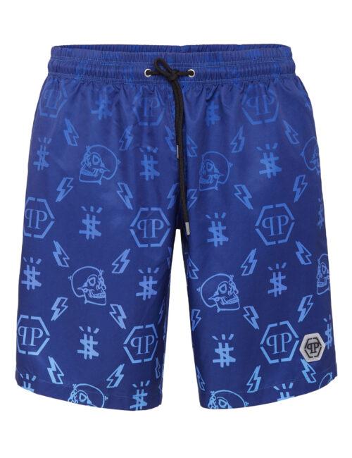 Philipp Plein Beachwear Degradè Monogram Donker Blauw