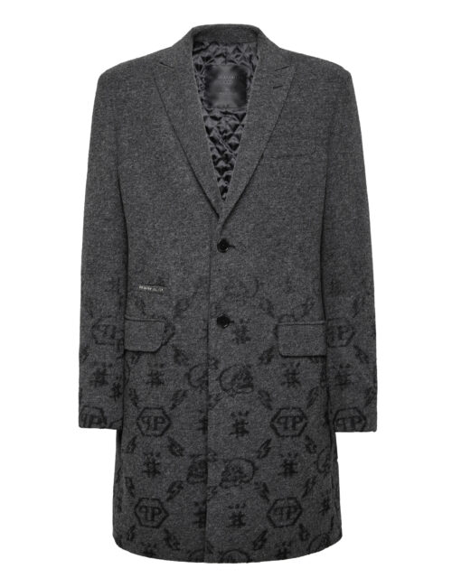 Philipp Plein Wool Sartorial Jacquard Coat Monogram Grijs
