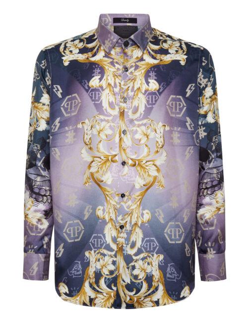 Philipp Plein Silk Shirt Dandy New Baroque Paars