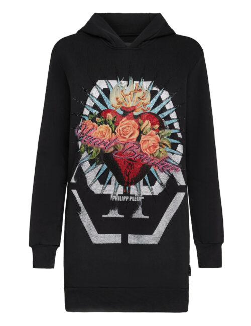 Philipp Plein Hoodie Sweatshirt Dress Heart Breaker Zwart
