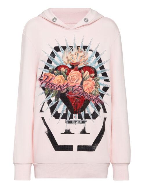 Philipp Plein Hoodie Sweatshirt Dress Heart Breaker Roze