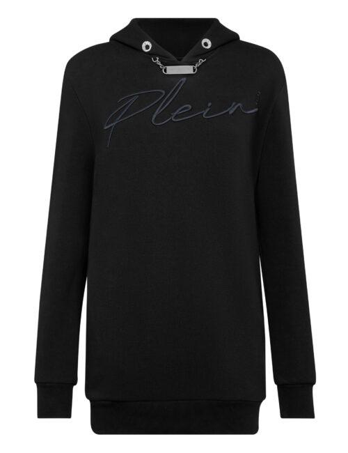 Philipp Plein Leisurewear Hoodie Dress Embroidery Zwart