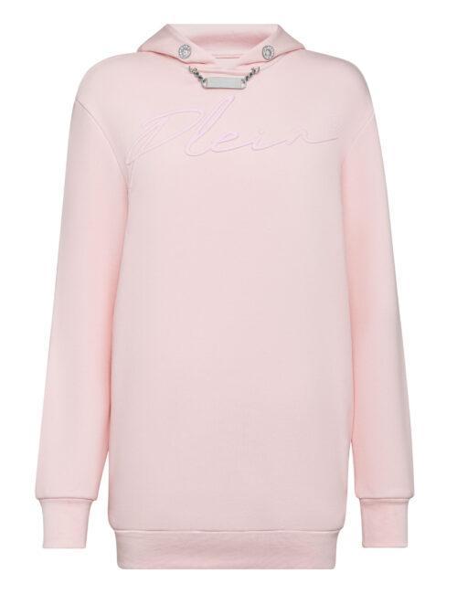 Philipp Plein Leisurewear Hoodie Dress Embroidery Roze