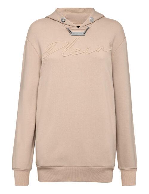 Philipp Plein Leisurewear Hoodie Dress Embroidery Beige