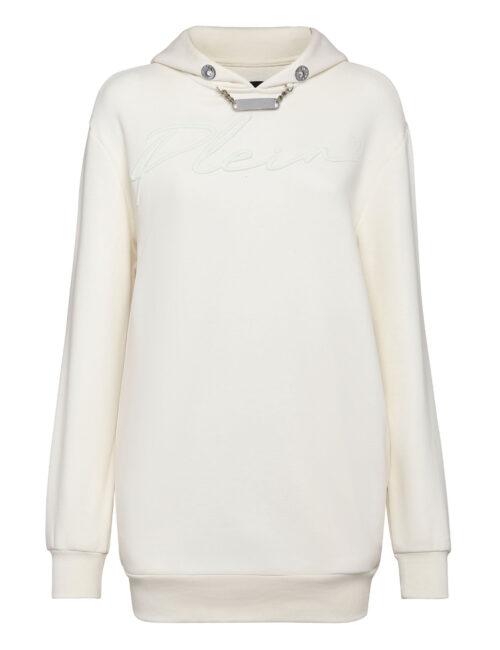 Philipp Plein Leisurewear Hoodie Dress Embroidery Cream