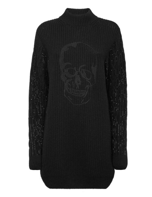 Philipp Plein Cashmere 5 Day Dress Crystal Skull Zwart