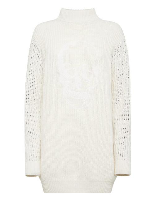 Philipp Plein Cashmere 5 Day Dress Crystal Skull Cream