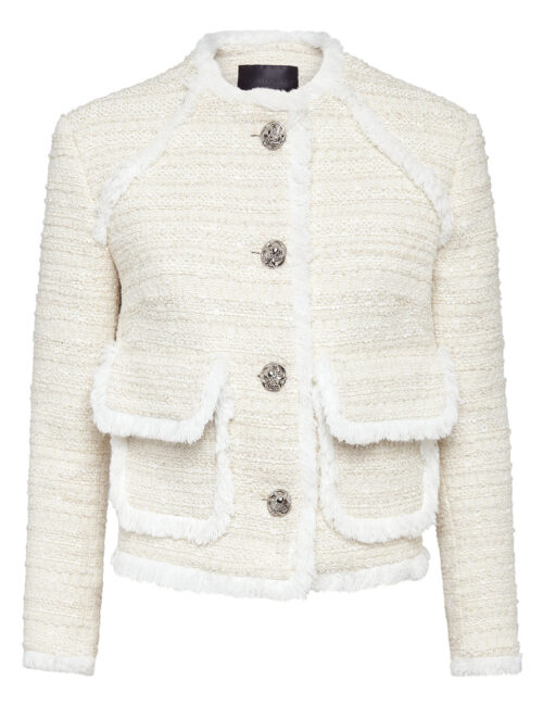 Philipp Plein Bouclé Jacket Embroidery Beige