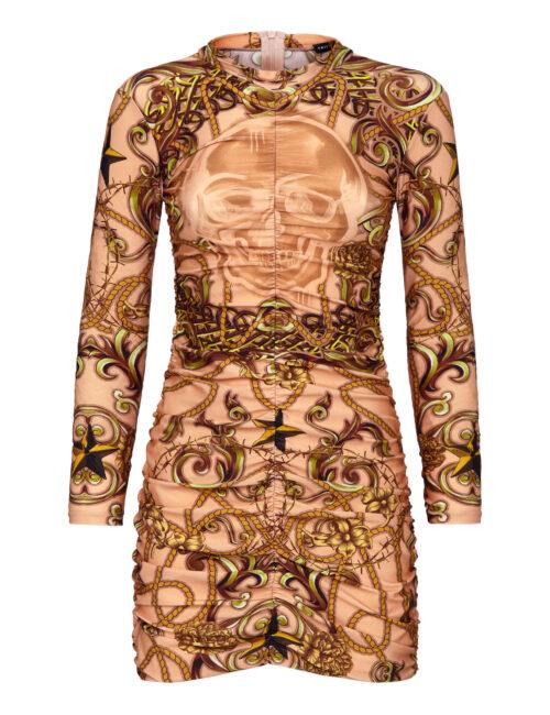 Philipp Plein Short Dress New Baroque Beige