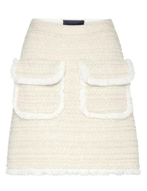 Philipp Plein Bouclé Short Skirt Embroidery Beige