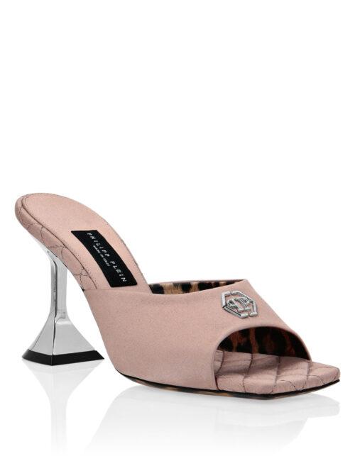 Philipp Plein Satin Sandals Mid Heels Beige