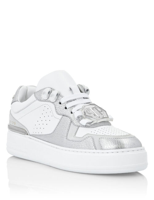 Philipp Plein Leather Lo-Top Sneakers G.O.A.T. Wit