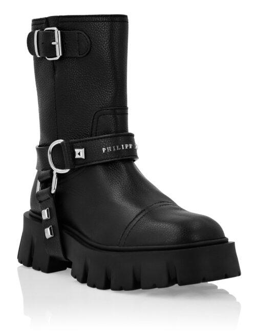 Philipp Plein Leather Biker Boots Mid Flat Zwart