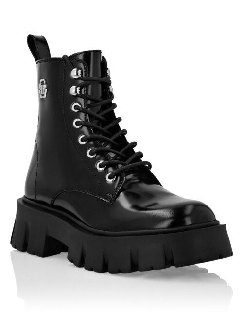Philipp Plein Leather Boots Iconic Plein Zwart