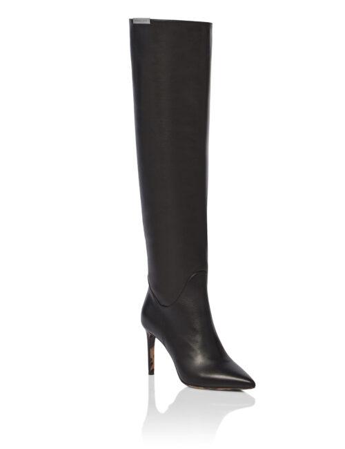 Philipp Plein Soft Leather Boots Hi-Heels Overknees Zwart