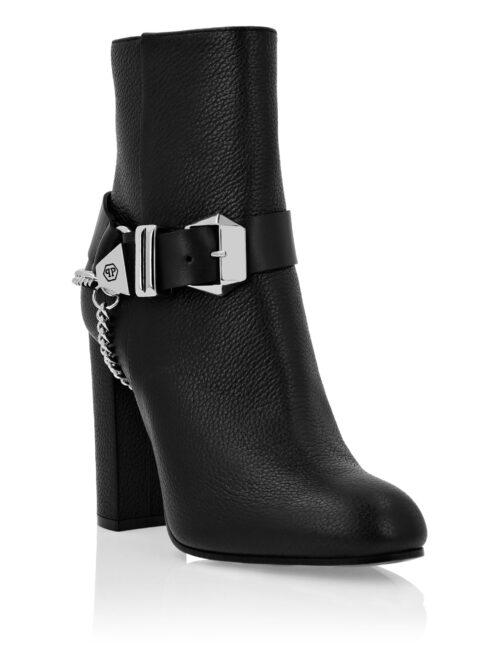 Philipp Plein Leather Boots Lo-Heels Iconic Zwart