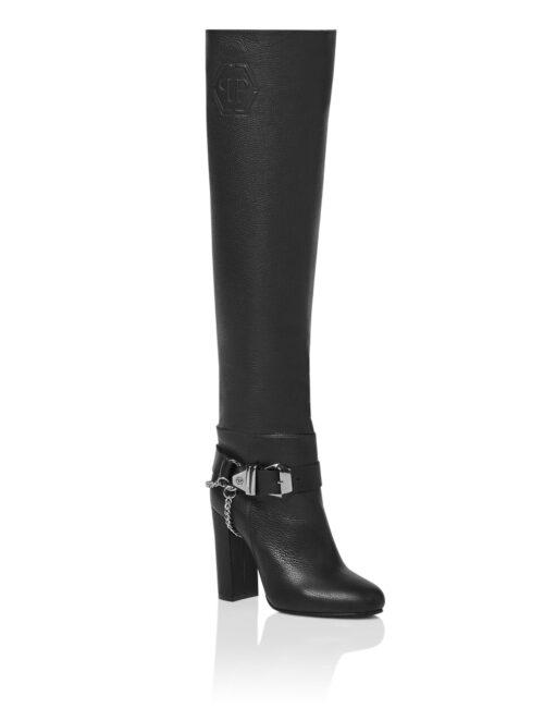 Philipp Plein Leather High Heels Embossed Hexagon Zwart