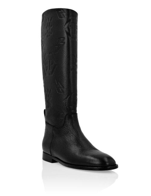 Philipp Plein Leather Boots Lo-Heels Monogram Zwart