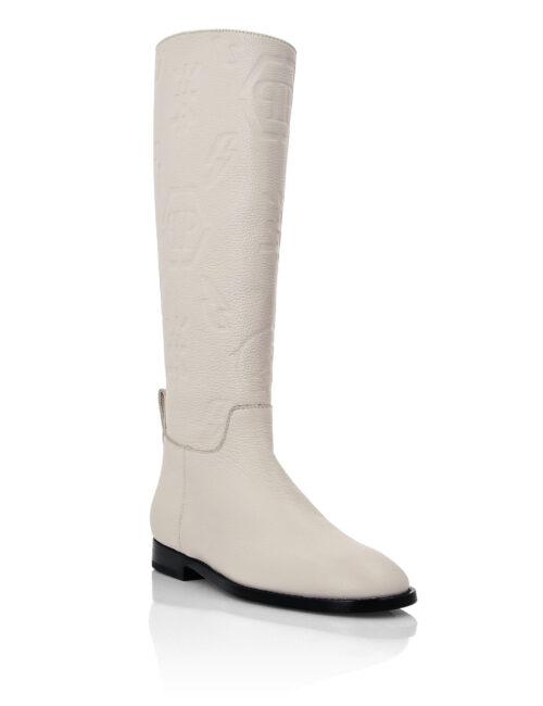 Philipp Plein Leather Boots Lo-Heels Monogram Beige