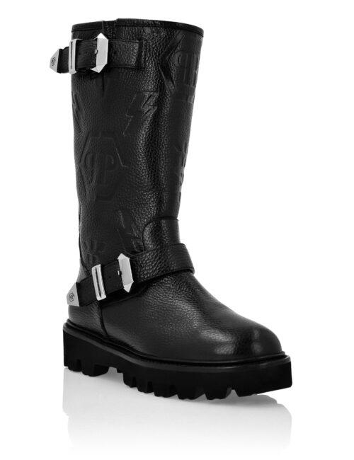 Philipp Plein Leather Boots Lo-Heels Biker Monogram Zwart
