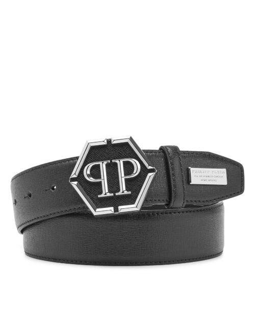 Philipp Plein Leather Belt Hexagon Zwart #254