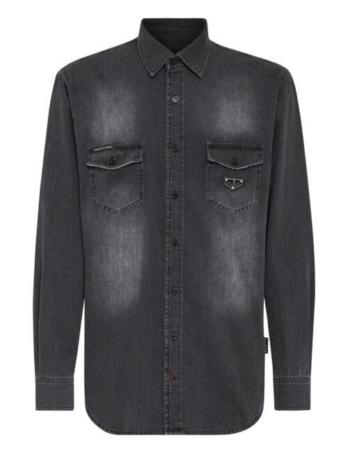 Philipp Plein Denim Shirt LS Iconic Tempest Grey