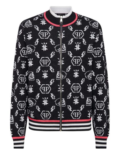Philipp Plein Merino Wool Jacket Jacquard Monogram Zwart