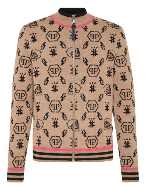 Philipp Plein Merino Wool Jacket Jacquard Monogram Beige