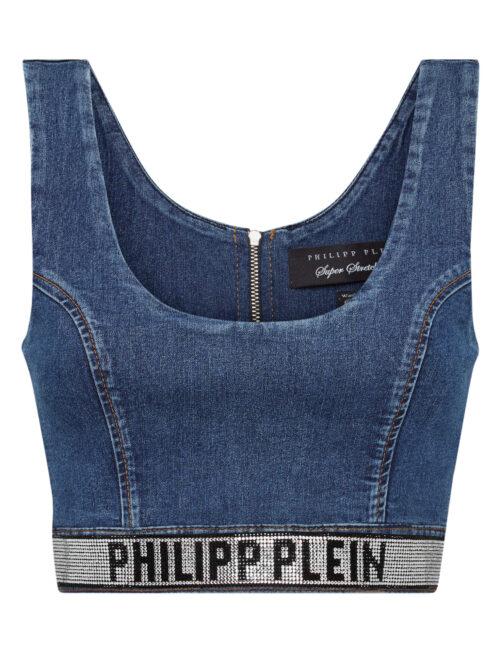 Philipp Plein Denim Super Stretch Top Blue Mistake