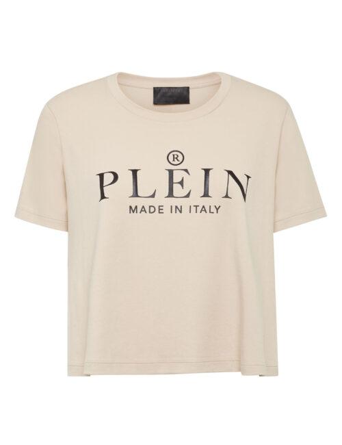Philipp Plein T-Shirt Round Neck Crop Iconic Plein Beige