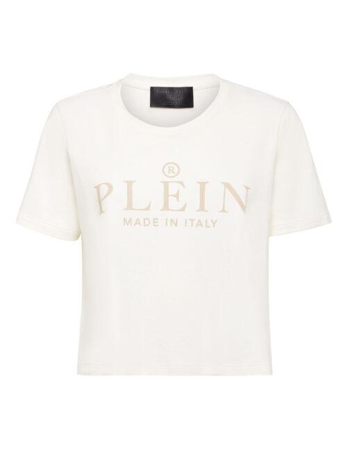 Philipp Plein T-Shirt Round Neck Crop Iconic Plein Cream
