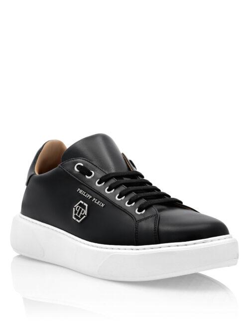 Philipp Plein Leather Lo-Top Sneakers Hexagon Zwart/Wit