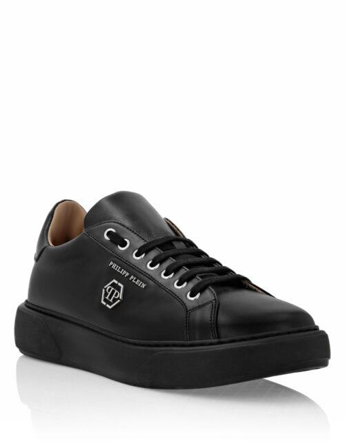 Philipp Plein Leather Lo-Top Sneakers Hexagon Zwart/Zwart