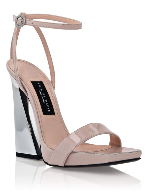 Philipp Plein Leather Sandals High Heels Nude Pink