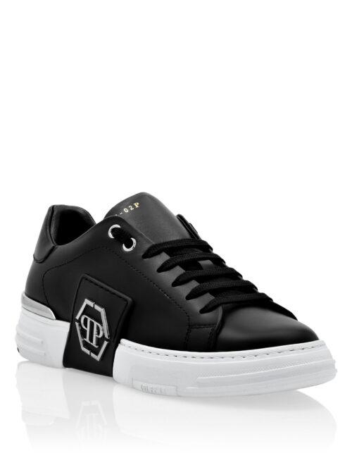 Philipp Plein Leather Lo-Top Sneakers Metal Phantom Zwart/Wit
