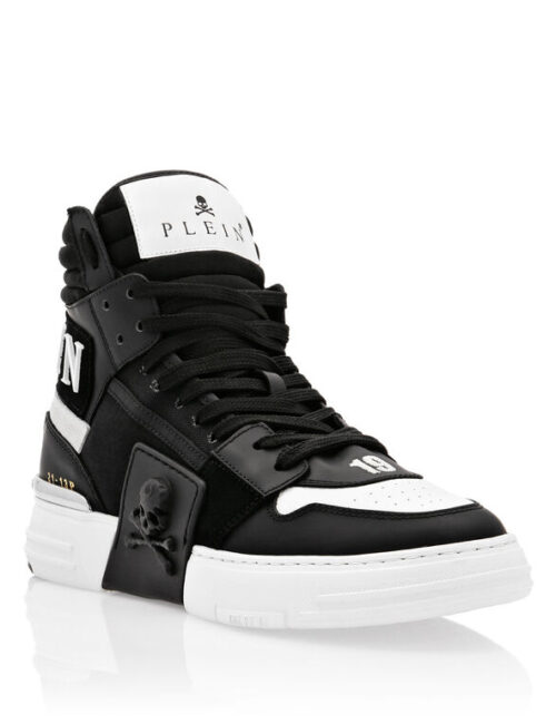 Philipp Plein PHANTOM KICK$ Hi-Top Sneakers Mix Materials Zwart
