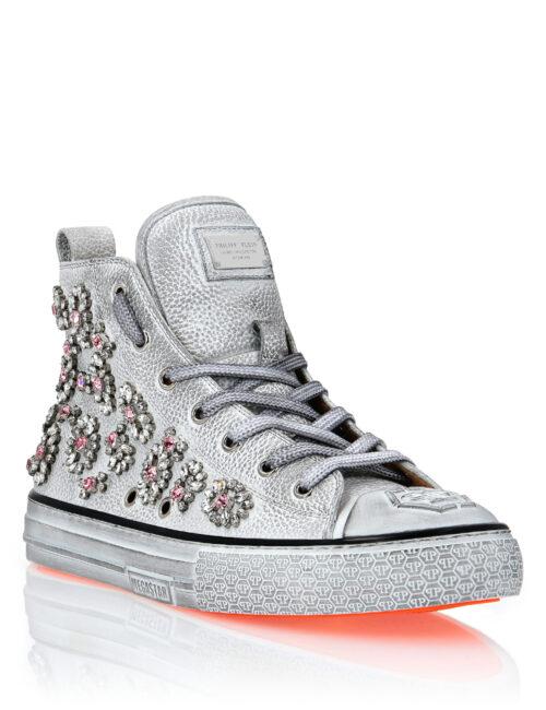 Philipp Plein Leather Hi-Top Sneakers Crystal Megastar Wit