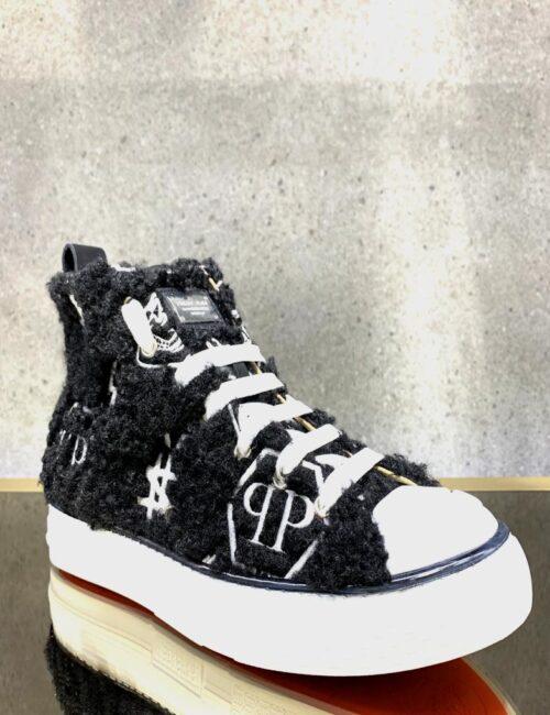 Philipp Plein Hi-Top Sneakers Embroidery Monogram Zwart/Wit