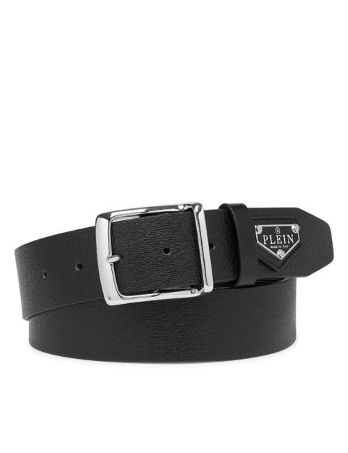 Philipp Plein Leather Belt Iconic Plein Zwart #256