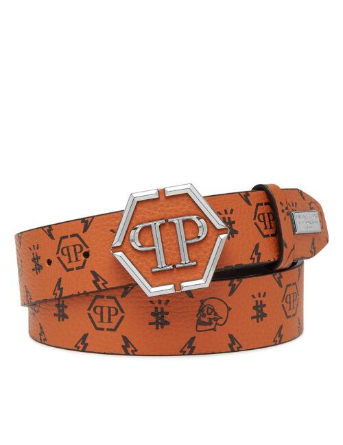 Philipp Plein Leather Belt Monogram Cognac #258