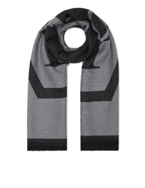 Philipp Plein Wool Long Scarf Hexagon Zwart/Grijs