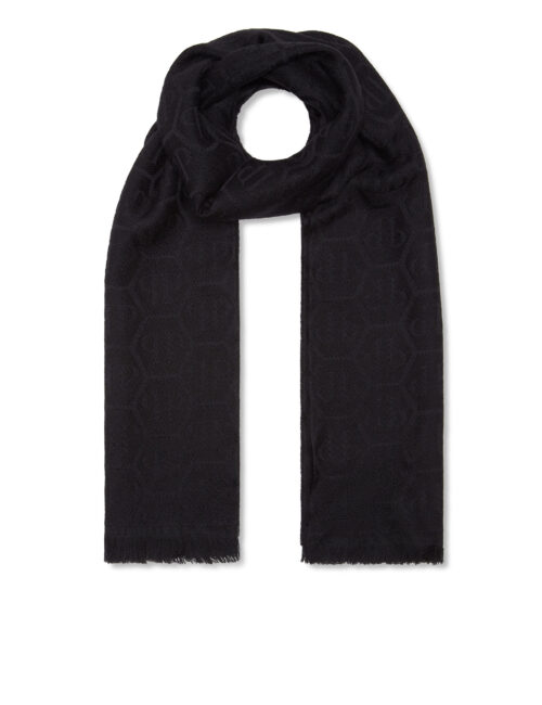 Philipp Plein Wool Long Scarf Hexagon Zwart