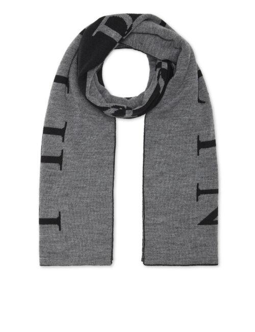 Philipp Plein Wool Blend Long Scarf Iconic Zwart/Grijs