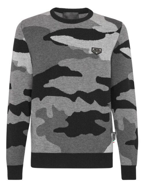 Philipp Plein Merino Wool Pullover Round Neck Camouflage Zwart