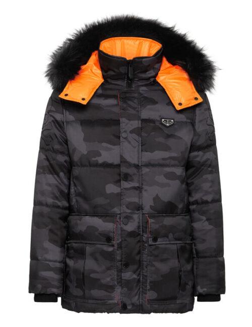 Philipp Plein Nylon Jacket Camouflage Luxury Zwart