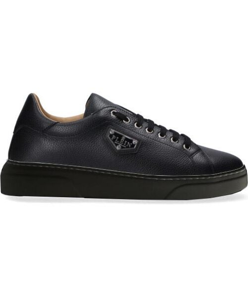 Philipp Plein Leather Lo-Top Sneakers Iconic Zwart/Zwart